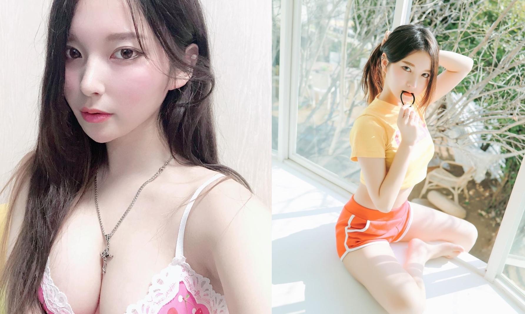豪乳网拍老板娘「아리니 봇」外型美艳身材好 贴身T「不科学包覆」乳型外露