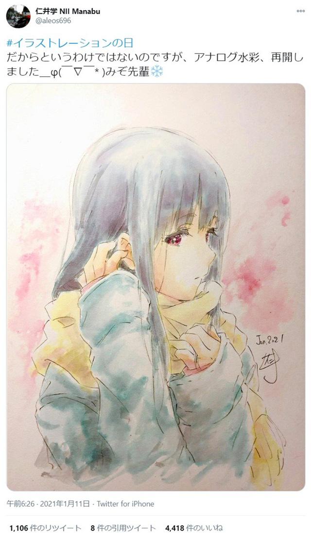作画监督仁井学公开了为「吹响!上低音号」中的铠塚霙绘制的水彩版画像